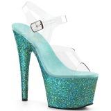 Turquoise paillettes 18 cm Pleaser ADORE-708LG chaussure à talons de pole dance