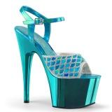 Turquoise paillettes 18 cm Pleaser ADORE-709MMRS Sandales à talons de pole dance