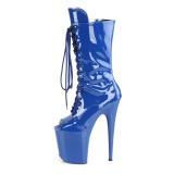 Vegan 20 cm FLAMINGO-1051 bottes plate-forme et bout ouvert bleu