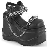 Vegan Noir 15 cm Demonia WAVE-20 lolita sandale talon compensé plateforme
