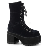 Velours 10 cm Demonia RANGER-301 bottines plateforme gothique