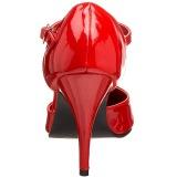 Verni 10 cm VANITY-415 escarpins à talon aiguille t-strap rouges