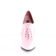 Verni 15 cm DOMINA-460 escarpins talons oxford à lacets rose
