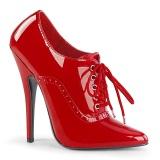 Verni 15 cm DOMINA-460 escarpins talons oxford à lacets rouge