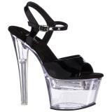 Verni 18 cm FLASHDANCE-709 sandales LED ampoule pour stripteaseuse