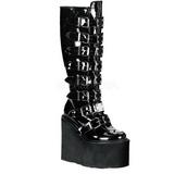 Verni 9 cm SWING-815 plateformes bottes à boucles pour femmes