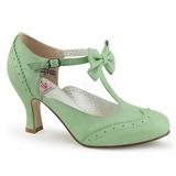 Vert 7,5 cm retro vintage FLAPPER-11 Pinup escarpins femmes à talons bas
