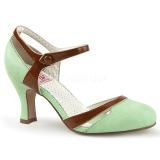 Vert 7,5 cm retro vintage FLAPPER-27 Pinup escarpins femmes à talons bas