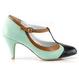 Vert 8 cm retro vintage PEACH-03 Pinup escarpins femmes à talons bas