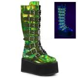 Vert 9 cm DAMNED-318 plateformes bottes à boucles pour femmes