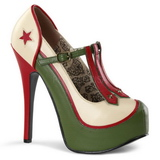 Vert Beige 14,5 cm Burlesque TEEZE-43 Chaussures pour femmes a talon