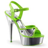 Vert Neon 15 cm DELIGHT-609NC Plateforme Chrome Sandales Femmes