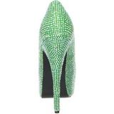 Vert Strass 14,5 cm Burlesque TEEZE-06R Talons Aiguilles Escarpins