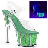 Vert paillettes 18 cm Pleaser ADORE-708UVG chaussure à talons de pole dance