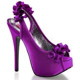 Violet Satin 14,5 cm Burlesque TEEZE-56 Sandales Talons Hauts
